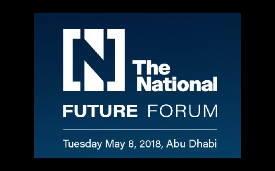 James Law speaks at The National Future Forum, Abu Dhabi, May 8 2018