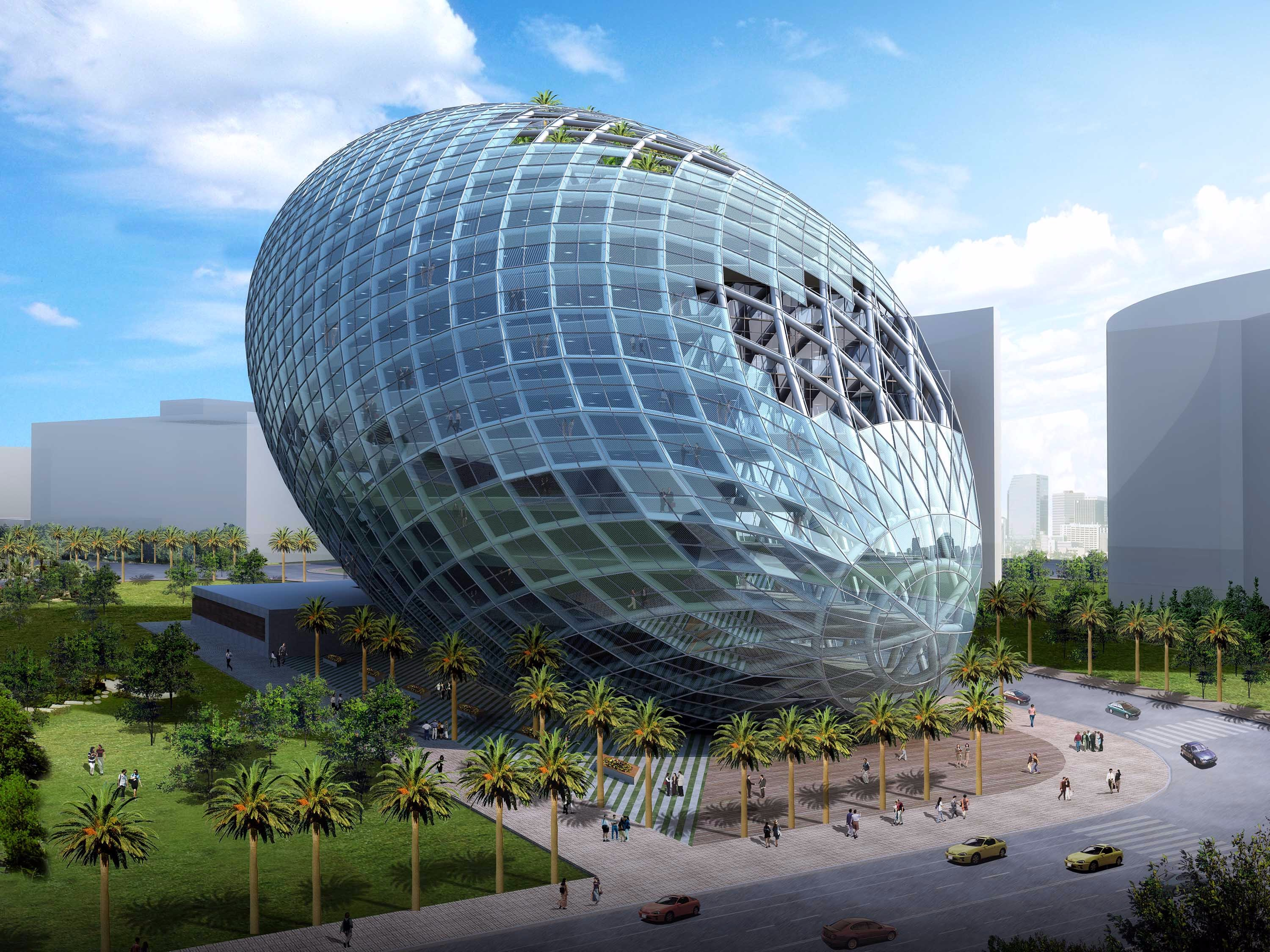 green office building. Mumbai Central Business District Green Commercial Building Designed As A Sustainable Office With Iconic Architecture, Parametrically Shape To H